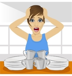 Sad woman with dirty dishes pile vector