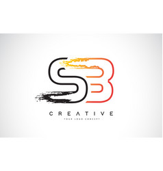Sb creative modern logo design with orange and vector