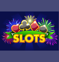 screen logo casino slots banner on blue vector image
