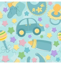 Seamless background with babys toys vector image