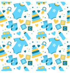 Seamless pattern with baby things birth of a boy vector