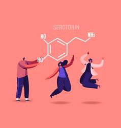 Serotonin concept characters enjoying life due vector