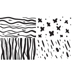 set 4 seamless patterns in black and vector image