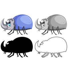 set beetle bug vector image