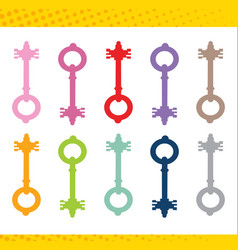 set locks various shapes and colors vector image