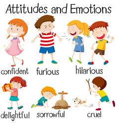 Set of children attitudes and emotions vector