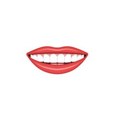 smiling girl mouth with bright red lips and white vector image