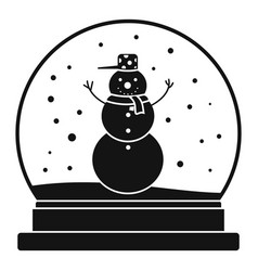 snowman glass ball icon simple style vector image