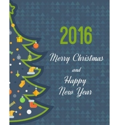 Stylized Christmas tree New Year greeting card vector image