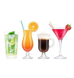 Summer cocktails realistic alcoholic drinks vector
