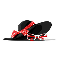 summer hat and glasses vector image