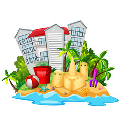summer theme with sandcastle on beach vector image