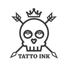 Tattoo ink black skull isolated on white vector