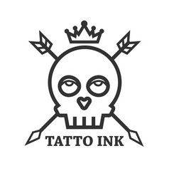 Tattoo ink of black skull isolated on white vector