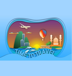 Time to travel in paper cut style vector