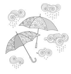 Umbrella in zentangle inspired doodle style vector