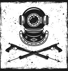 Vintage diving helmet and two spearfishing guns vector