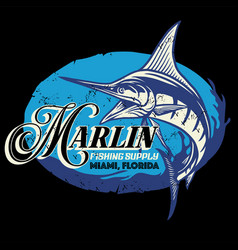 Vintage shirt design marlin fish with grunge vector