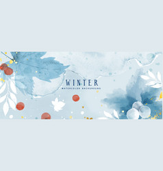 Watercolor abstract winter background with flower vector