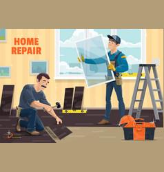 Window installer worker home repair renovation vector