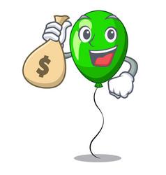 With money bag green balloon cartoon birthday very vector