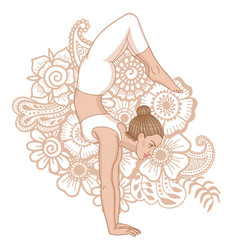 Women silhouette arm balance scorpion yoga pose vector