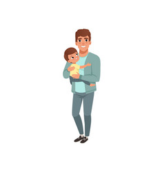 young father holding little son on his hands vector image