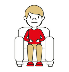 Young man sitting on sofa vector