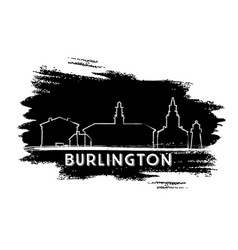 burlington skyline silhouette hand drawn sketch vector image