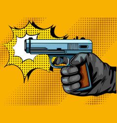 gun shooting pop art vector image