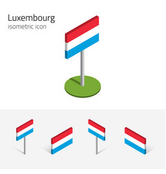 luxembourg flag set of 3d isometric icons vector image vector image