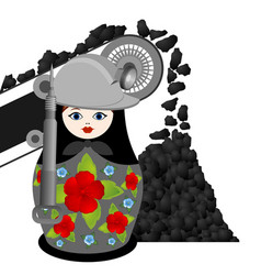 Nesting doll coal miner and the conveyor vector