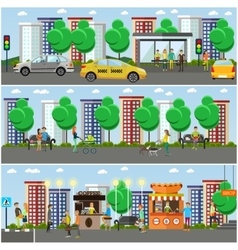 set of street traffic concept design vector image vector image