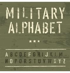 vintage military alphabet vector image vector image