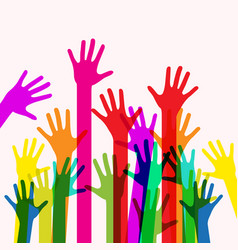 colorful human hands vector image