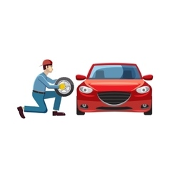 Mechanic changing wheel on red car icon vector image