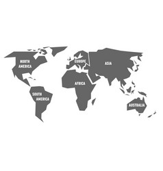 simplified grey silhouette of world map divided to vector image vector image