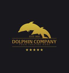 dolphin company logo or emblem logo vector image