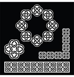 Irish Celtic patterns knots and braids on black vector image vector image