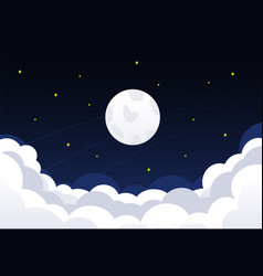 night sky with clouds stars and crescent moon vector image
