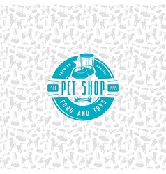 Pet shop seamless pattern and label vector image vector image