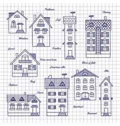 Sketch of houses of different heights vector image