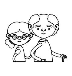 sketch silhouette half body elderly couple in vector image