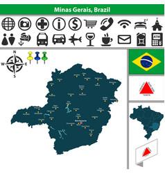 map of minas gerais brazil vector image vector image