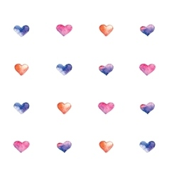Pattern with watercolor hearts vector image