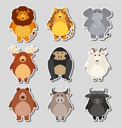 sticker set with wild animals on gray background vector image