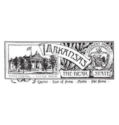 the state banner of arkansas the bear state vector image vector image
