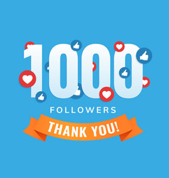 1000 followers social sites post greeting card vector