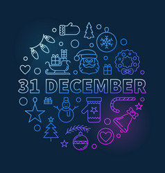 31 december concept outline colored vector image