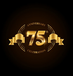 75 years anniversary celebration logotype golden vector image
